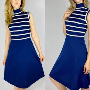 1970s blue and white striped turtleneck dress.